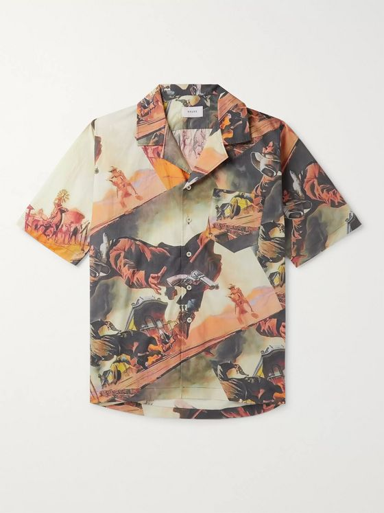 Rhude Camp-Collar Printed Cotton Shirt