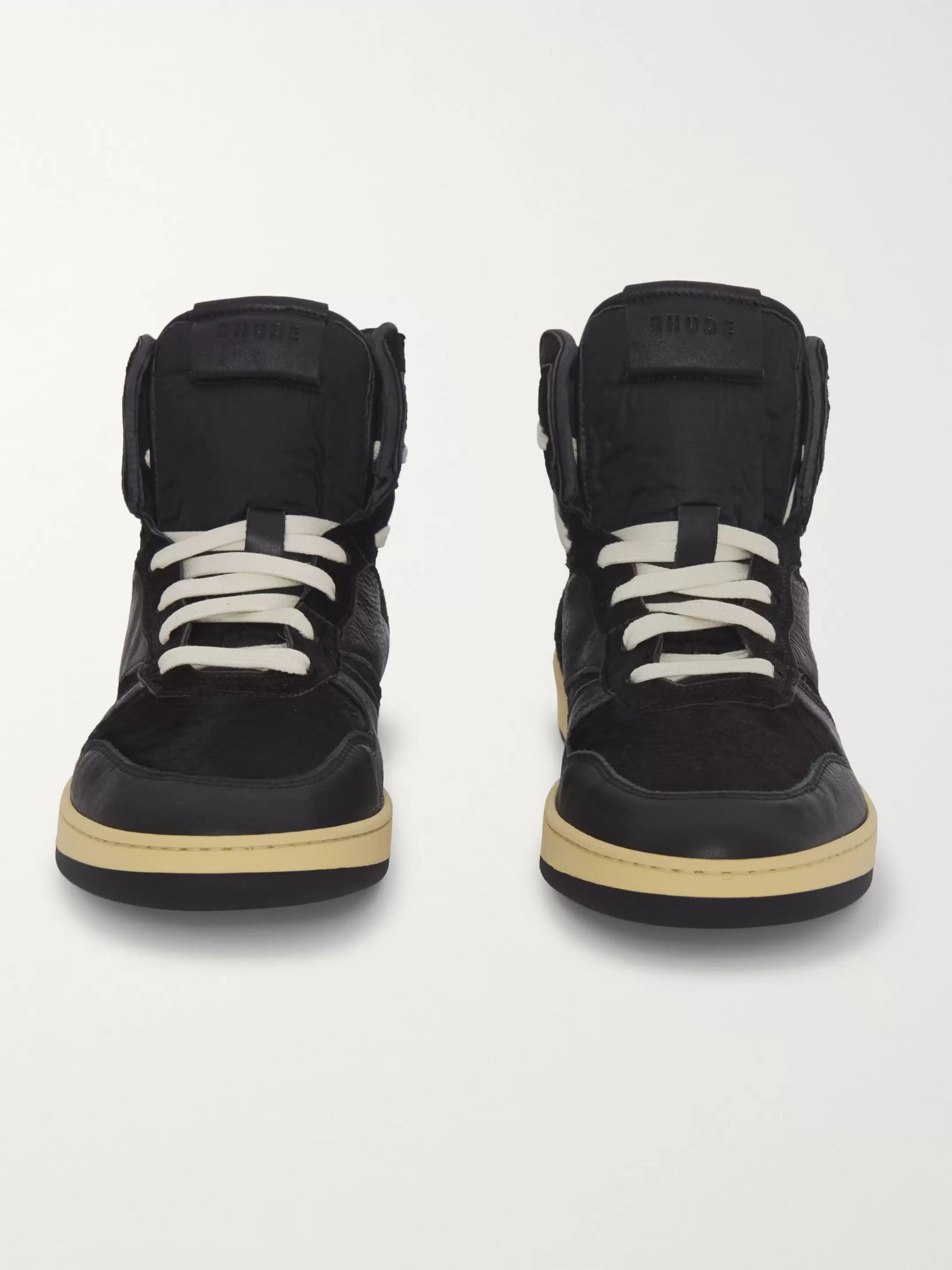 Rhude Rhecess Suede and Leather High-Top Sneakers