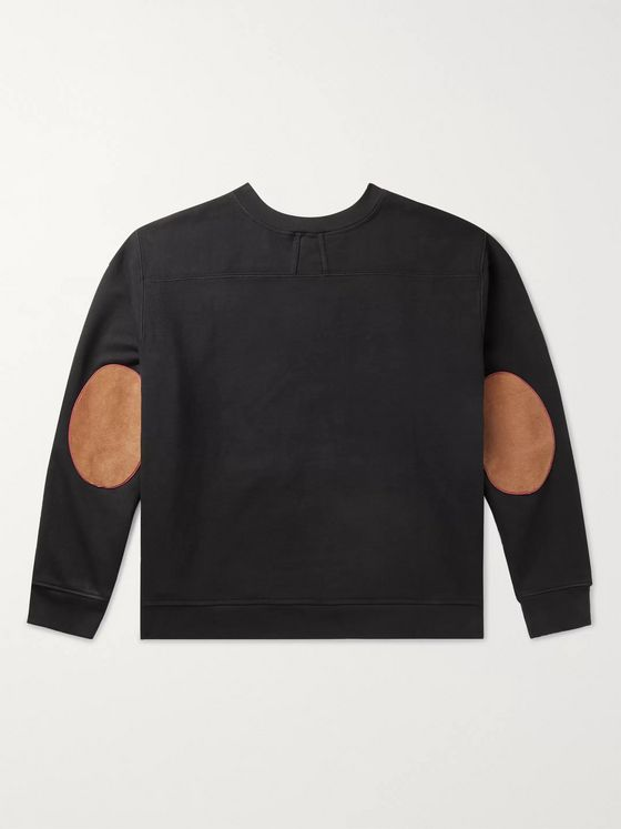 Rhude Suede-Trimmed Printed Fleece-Back Cotton-Jersey Sweatshirt