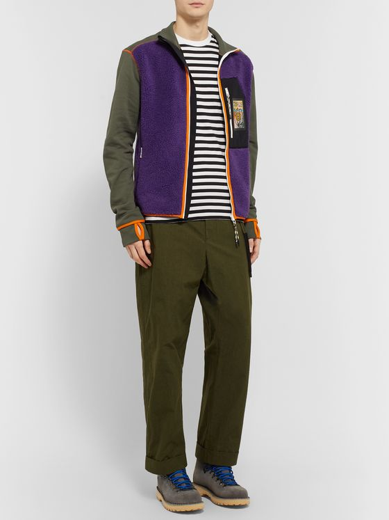 Loewe Eye/LOEWE/Nature Panelled Fleece and Cotton-Jersey Zip-Up Sweater