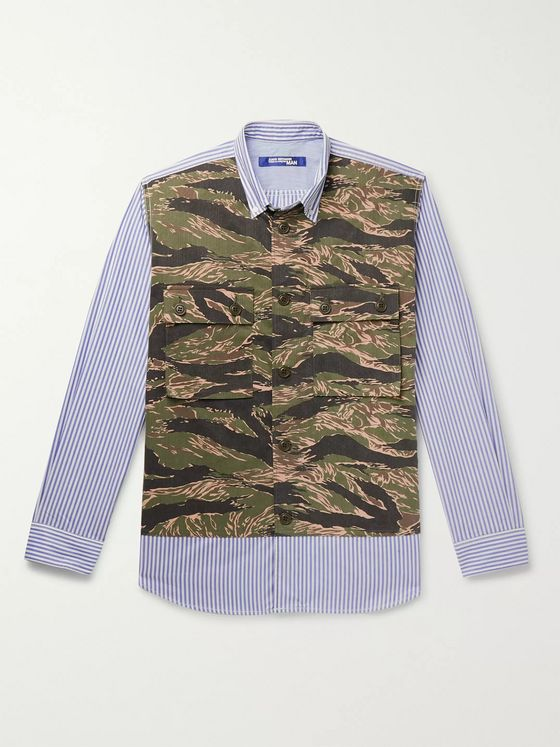 Junya Watanabe Button-Down Collar Panelled Camouflage and Striped Cotton Shirt