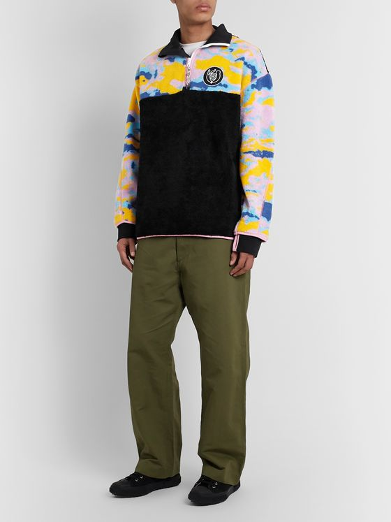 Loewe Eye/LOEWE/Nature Colour-Block Fleece Half-Zip Sweatshirt