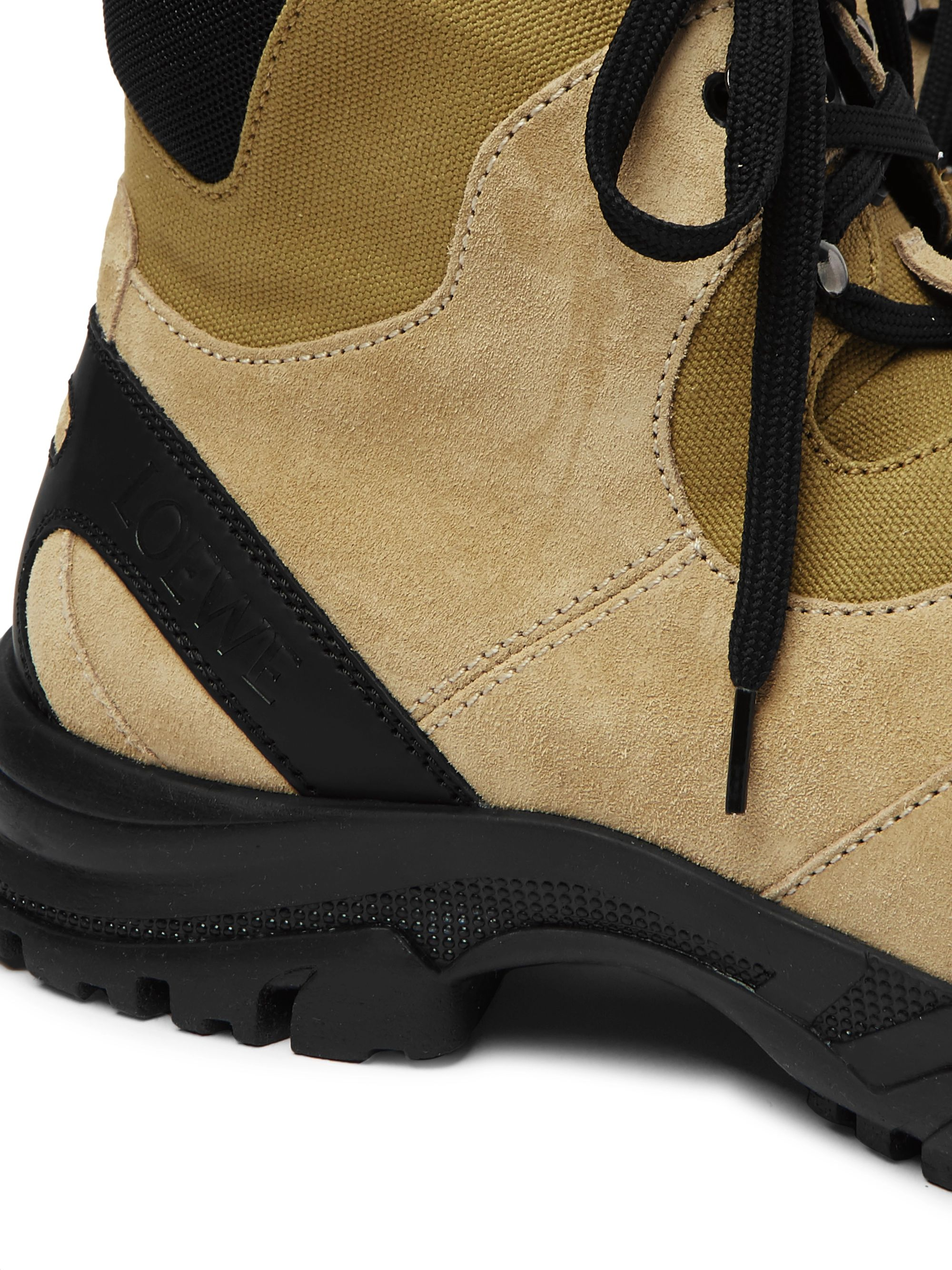 Loewe Eye/LOEWE/Nature Leather-Trimmed Suede and Mesh Boots