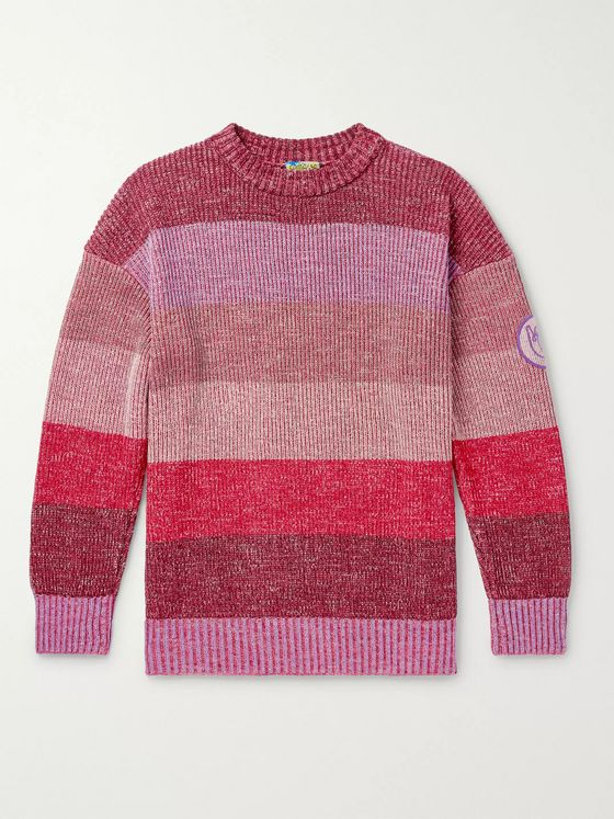Loewe Eye/LOEWE/Nature Logo-Appliquéd Striped Mélange Cotton-Blend Sweater