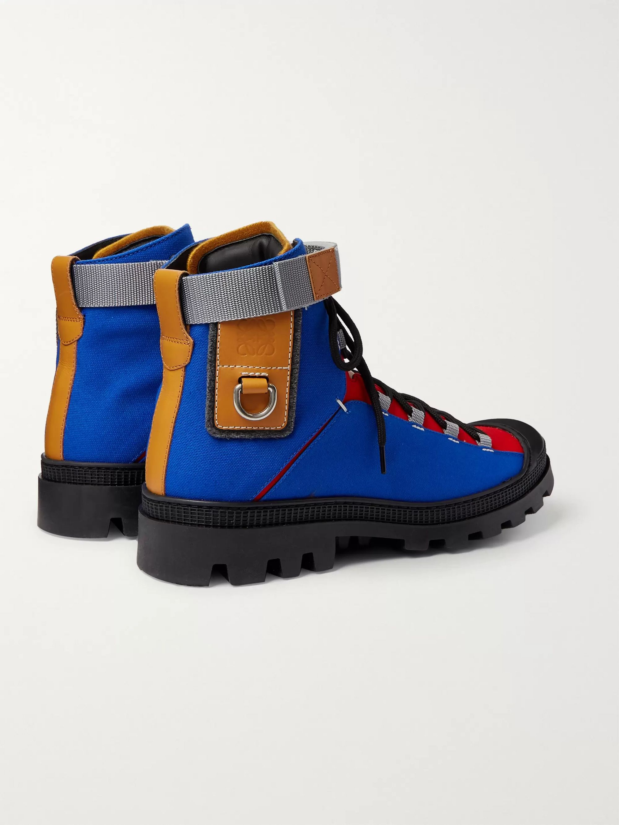Loewe Eye/LOEWE/Nature Leather-Trimmed Canvas Boots
