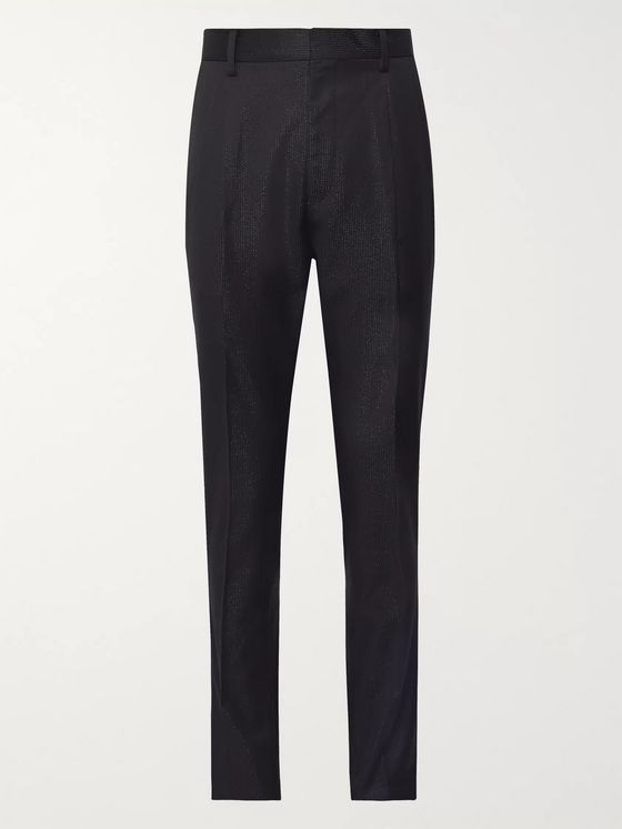 Wacko Maria + Dormeuil Tapered Pleated Metallic Wool Trousers
