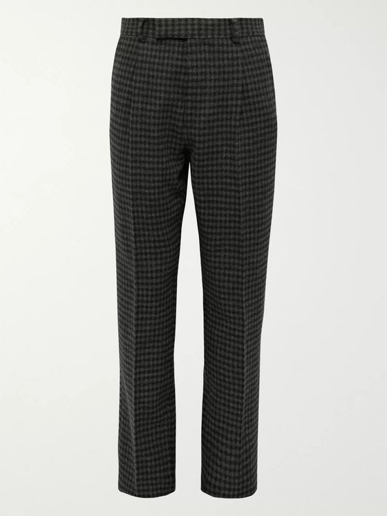 Wacko Maria Grey Tapered Houndstooth Pleated Wool-Blend Trousers