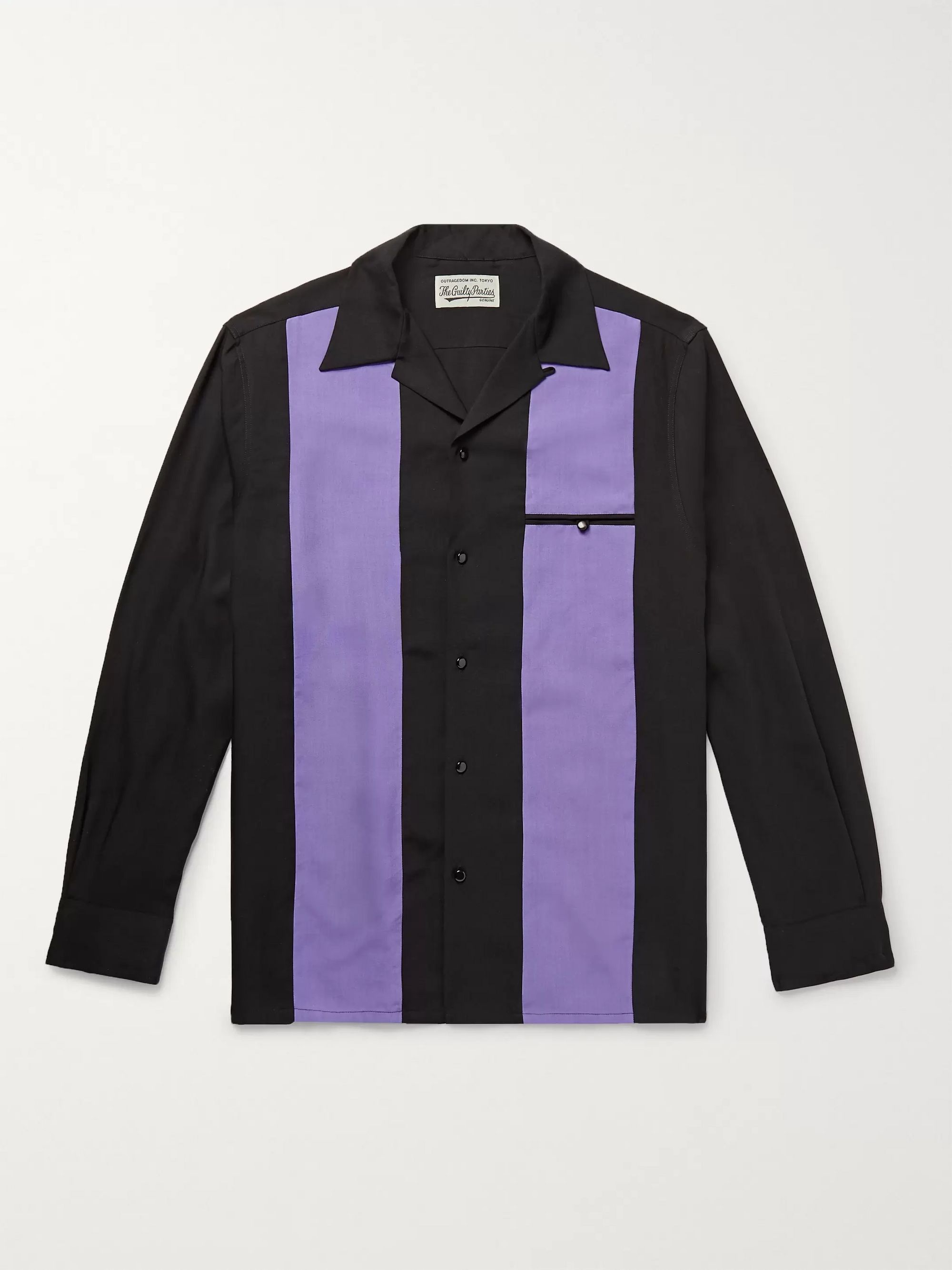 Wacko Maria Camp-Collar Striped Lyocell Shirt