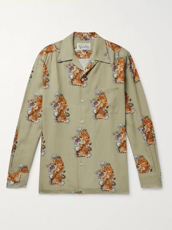 Wacko Maria + Tim Lehi Printed Camp-Collar Lyocell Shirt