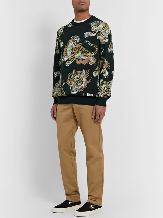 Wacko Maria + Tim Lehi Tiger Cotton-Jacquard Sweater