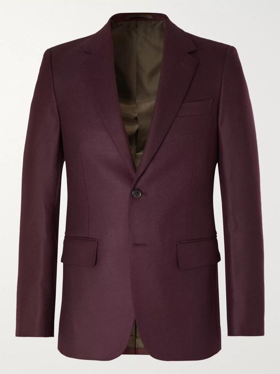 Wacko Maria Burgundy Slim-Fit Wool-Twill Suit Jacket
