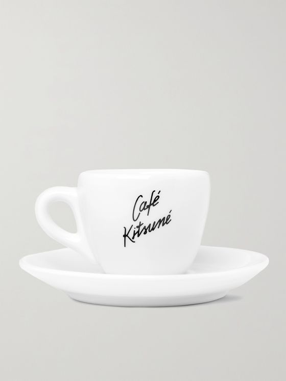 Café Kitsuné Printed Ceramic Cup and Saucer Set