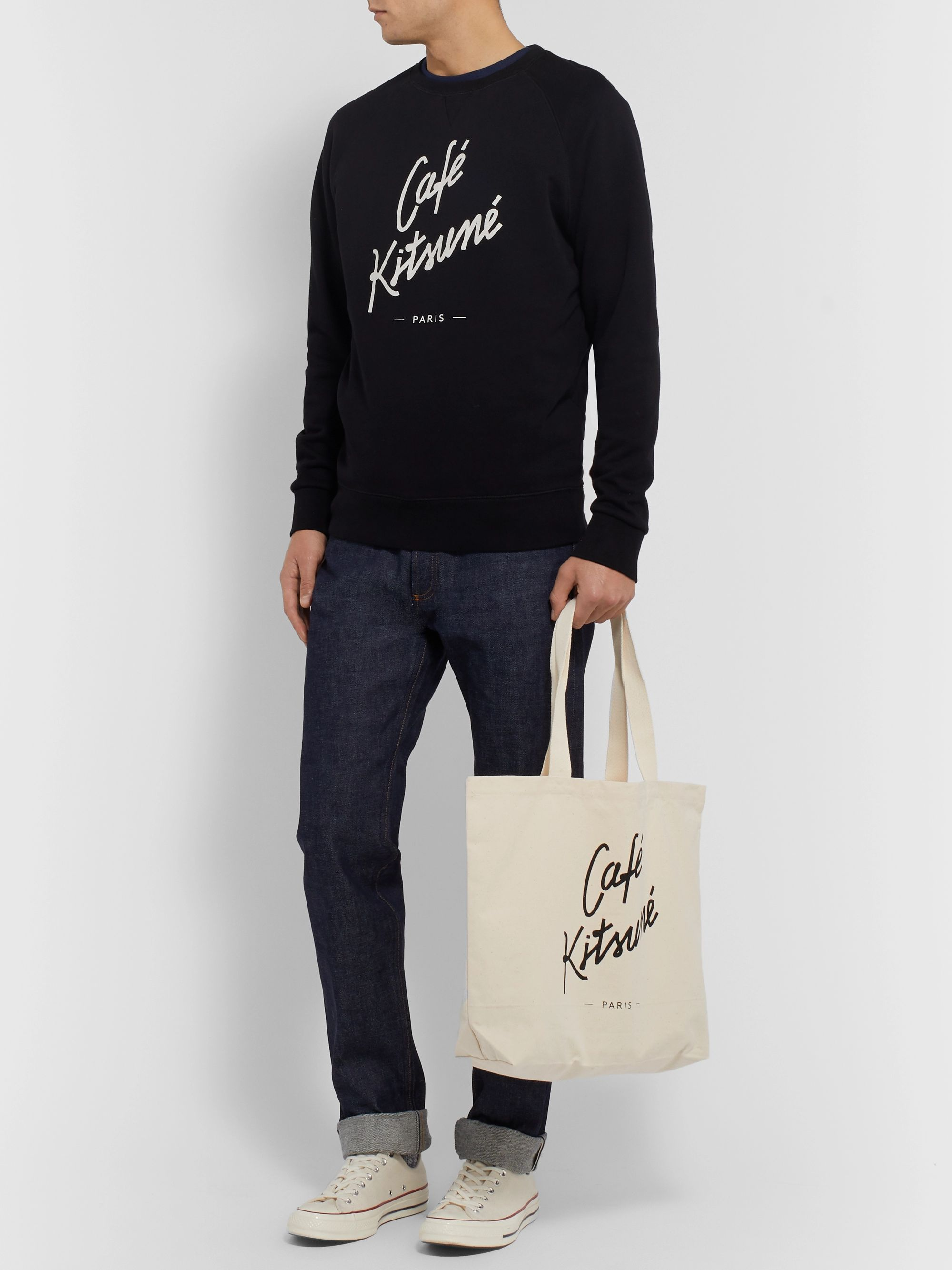 Café Kitsuné Logo-Print Cotton-Canvas Tote Bag