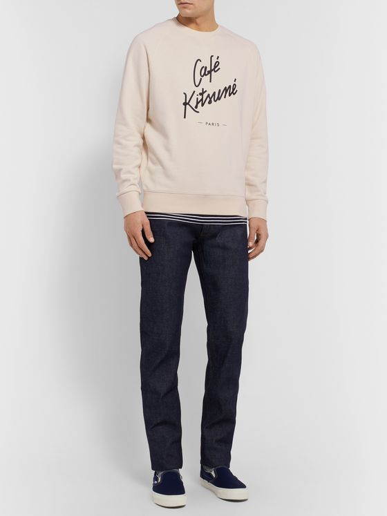 Café Kitsuné Slim-Fit Logo-Print Loopback Cotton-Jersey Sweatshirt