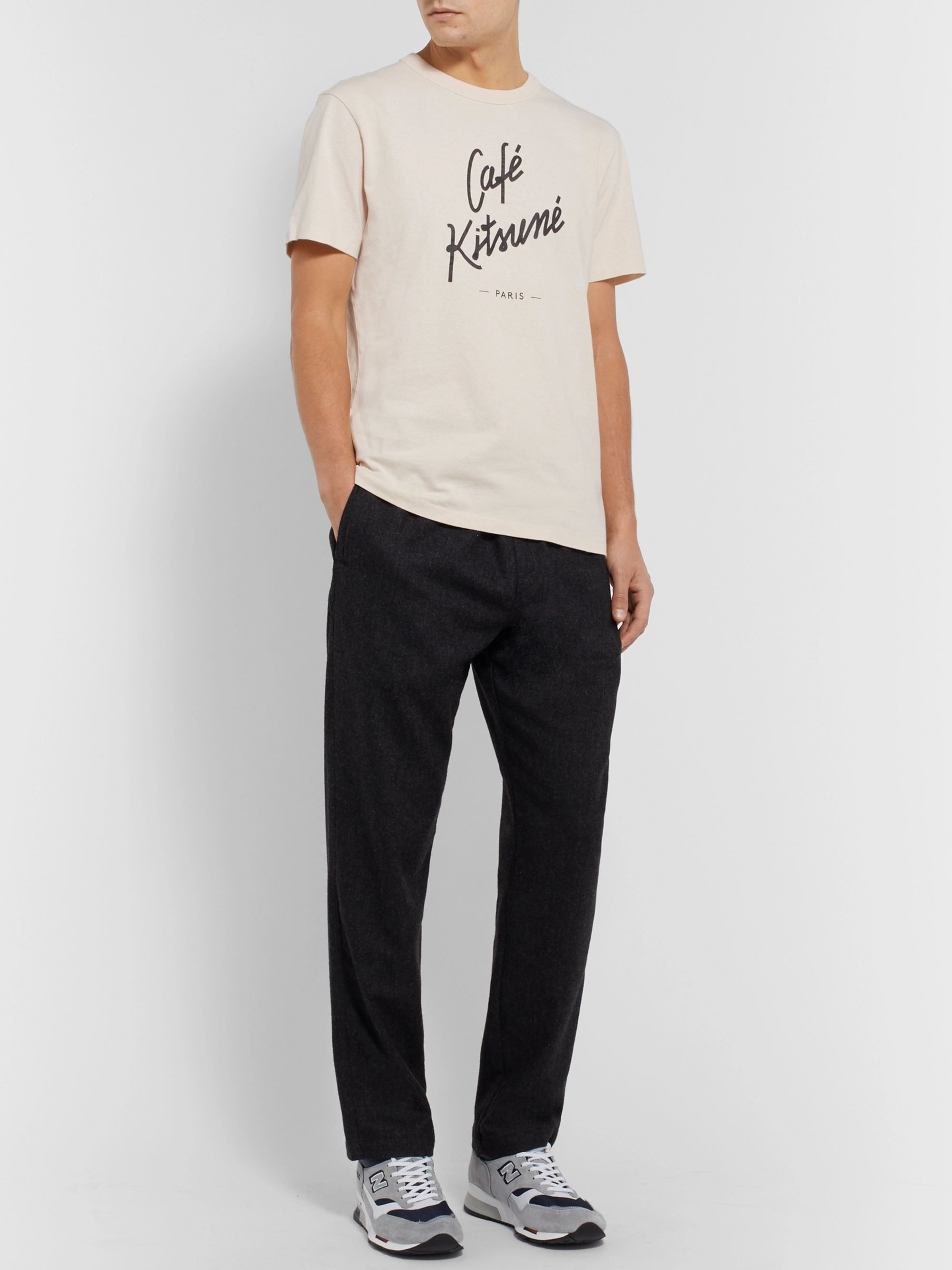 Café Kitsuné Slim-Fit Logo-Print Cotton-Jersey T-Shirt