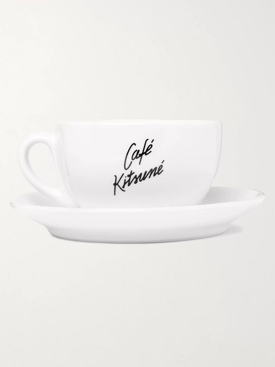Café Kitsuné Logo-Print Ceramic Cup and Saucer Set