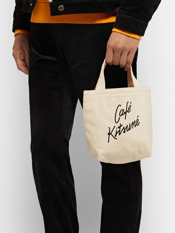 Café Kitsuné Small Logo-Print Cotton-Canvas Tote Bag