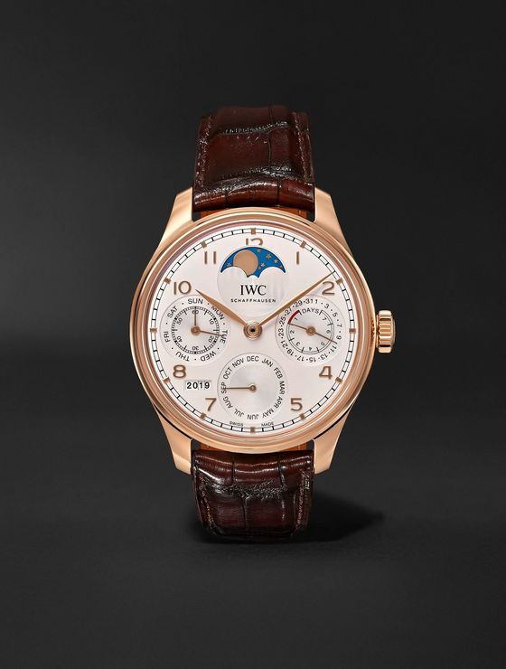 IWC SCHAFFHAUSEN Portugieser Perpetual Calendar Automatic 44.2mm 18-Karat Red Gold and Alligator Watch
