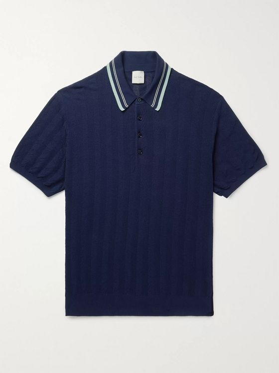 Paul Smith Contrast-Tipped Knitted Cotton Polo Shirt