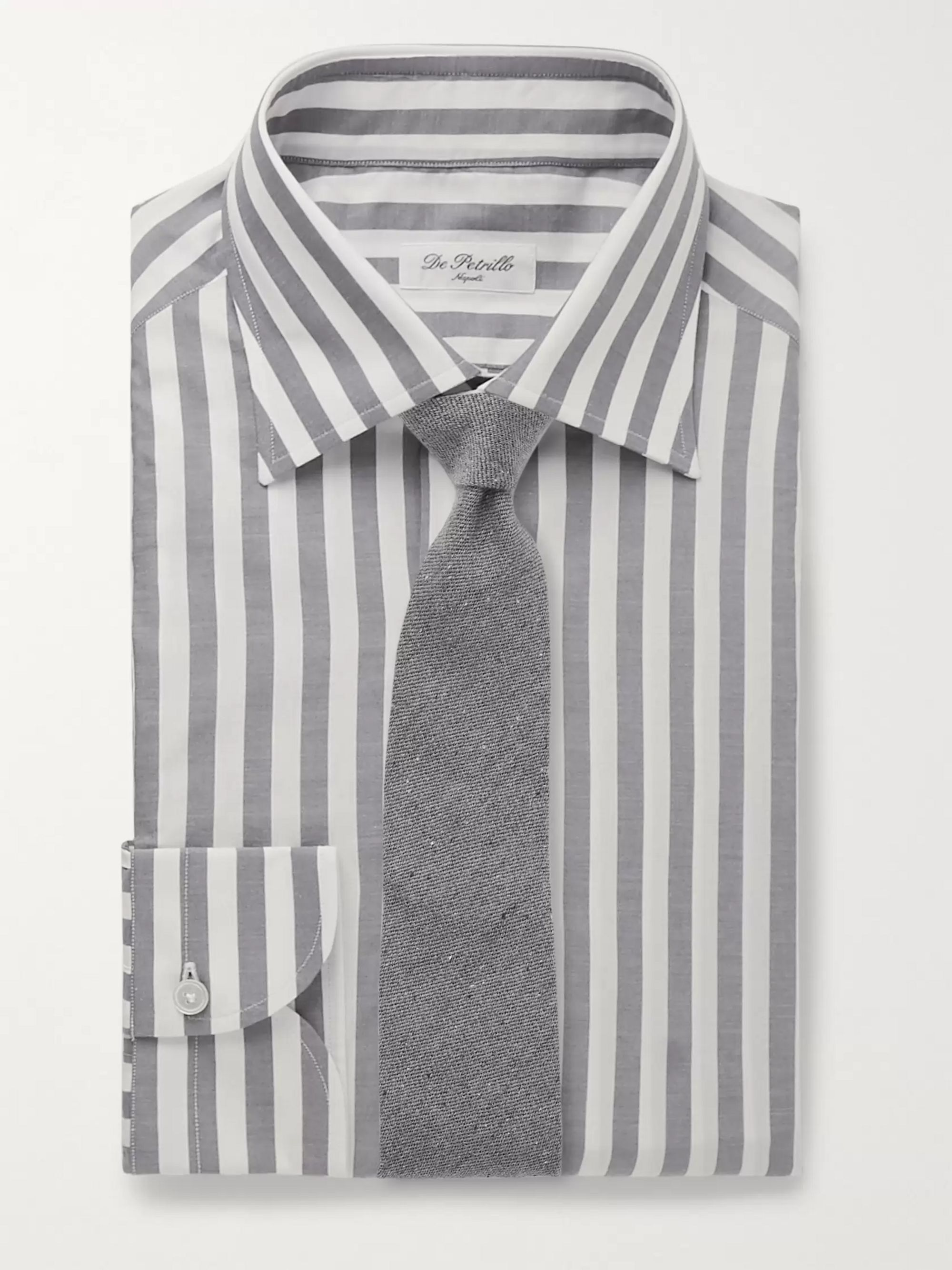De Petrillo Fortino Slim-Fit Striped Cotton Shirt