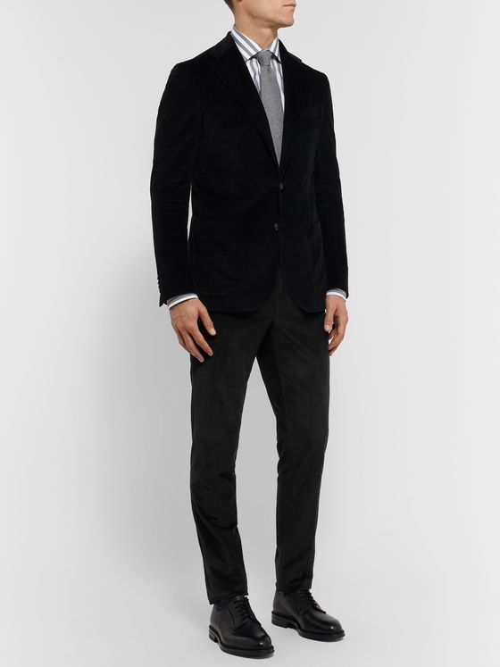 De Petrillo Black Slim-Fit Cotton and Cashmere-Blend Corduroy Suit Trousers