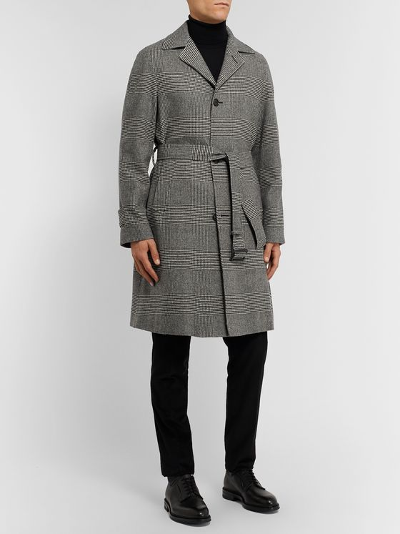 De Petrillo Petrucci Prince of Wales Checked Virgin Wool Overcoat