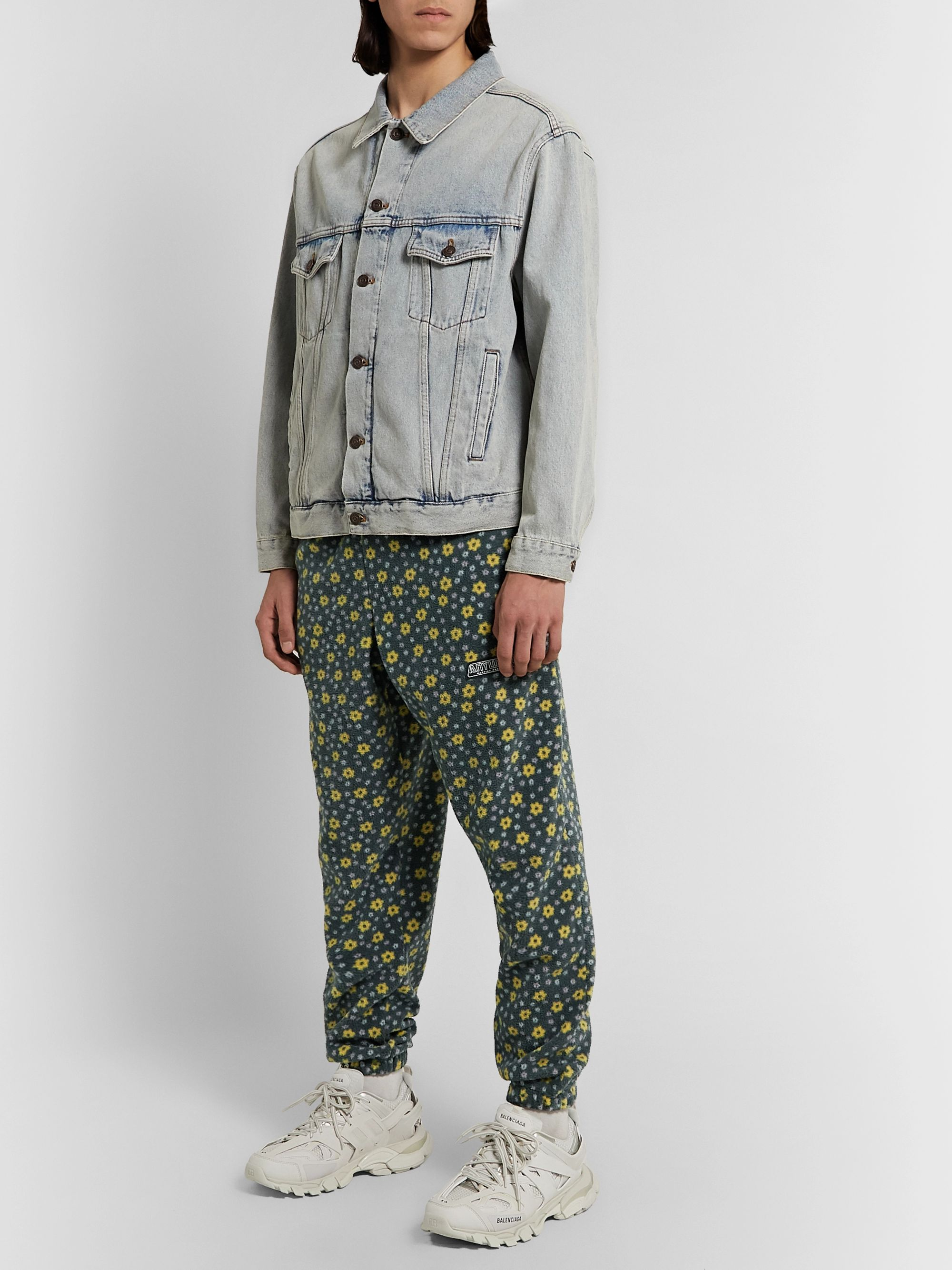 Martine Rose Slim-Fit Tapered Printed Fleece Track Pants