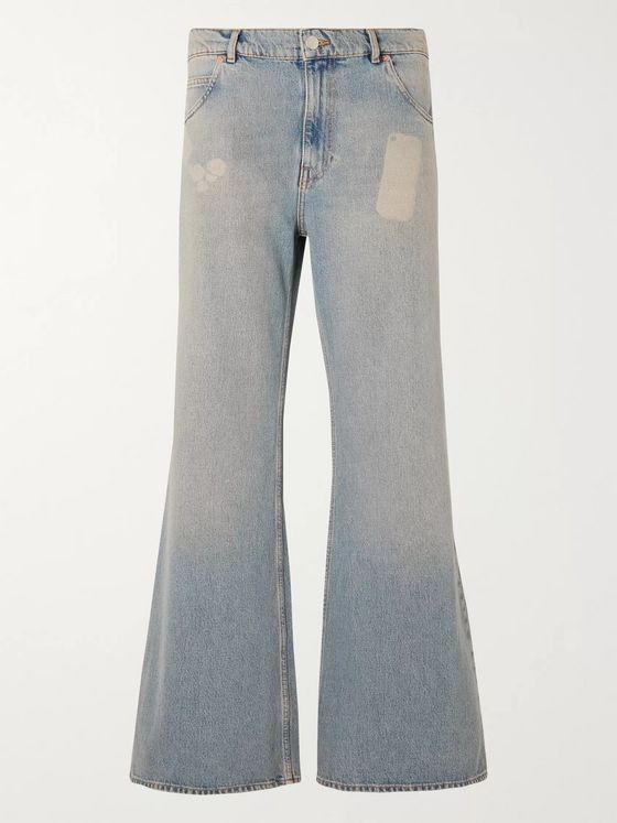 Martine Rose Flared Bleached Denim Jeans