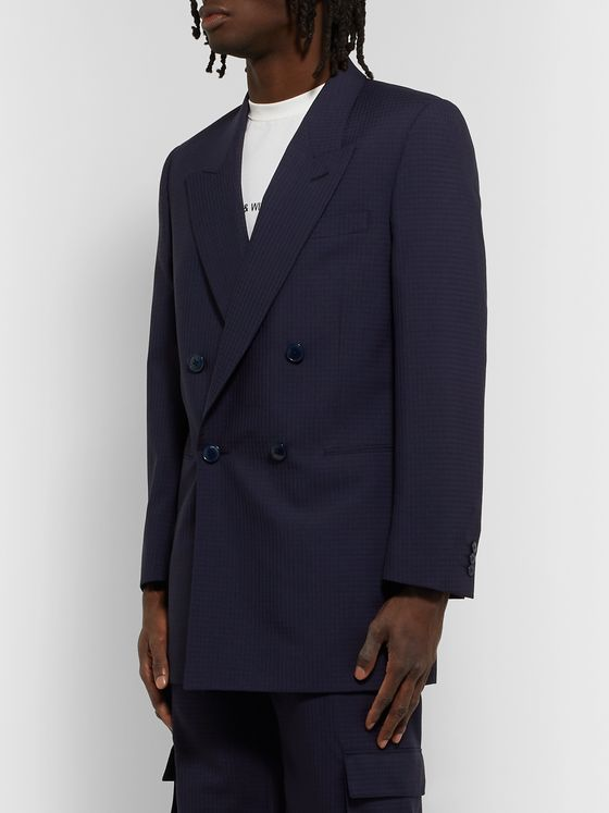 Martine Rose Double-Breasted Checked Virgin Wool Suit Jacket