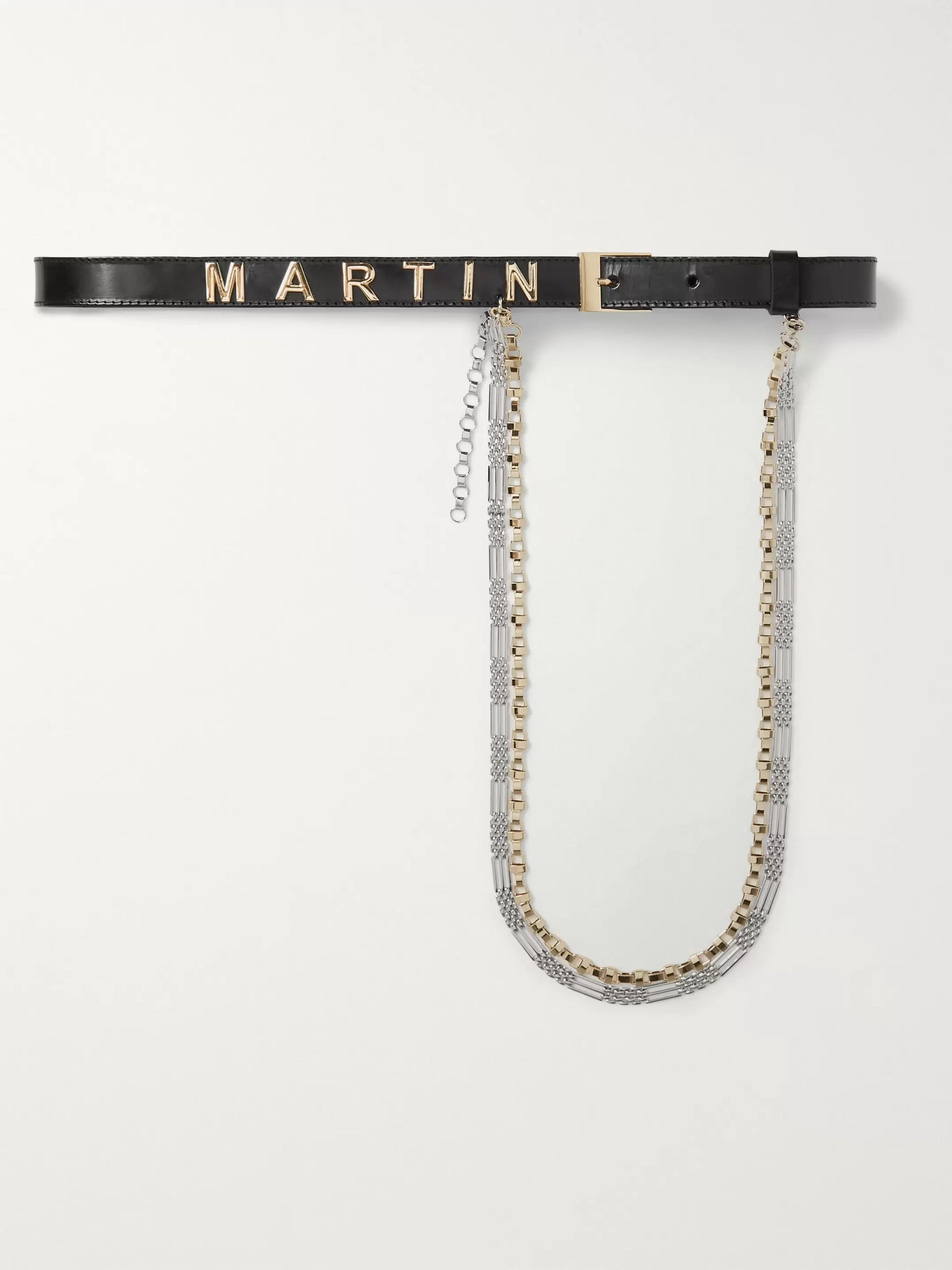 Martine Rose Logo-Embellished Leather and Silver-Tone Belt