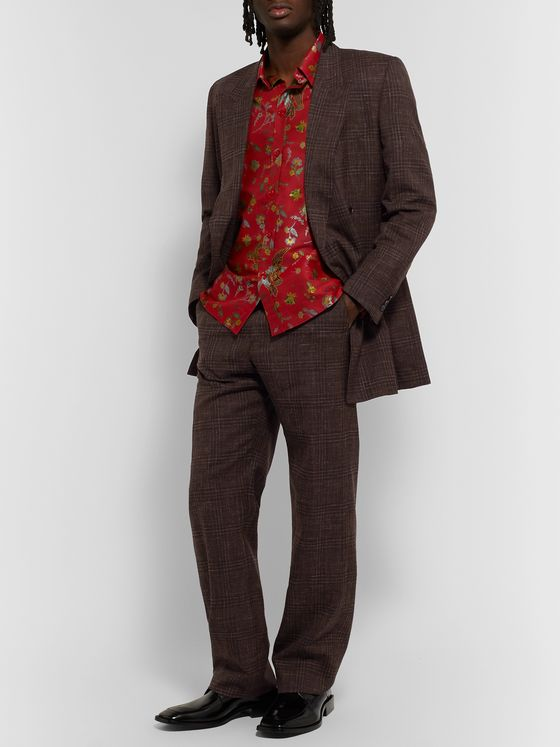 Martine Rose Prince of Wales Checked Virgin Wool and Linen-Blend Suit Trousers
