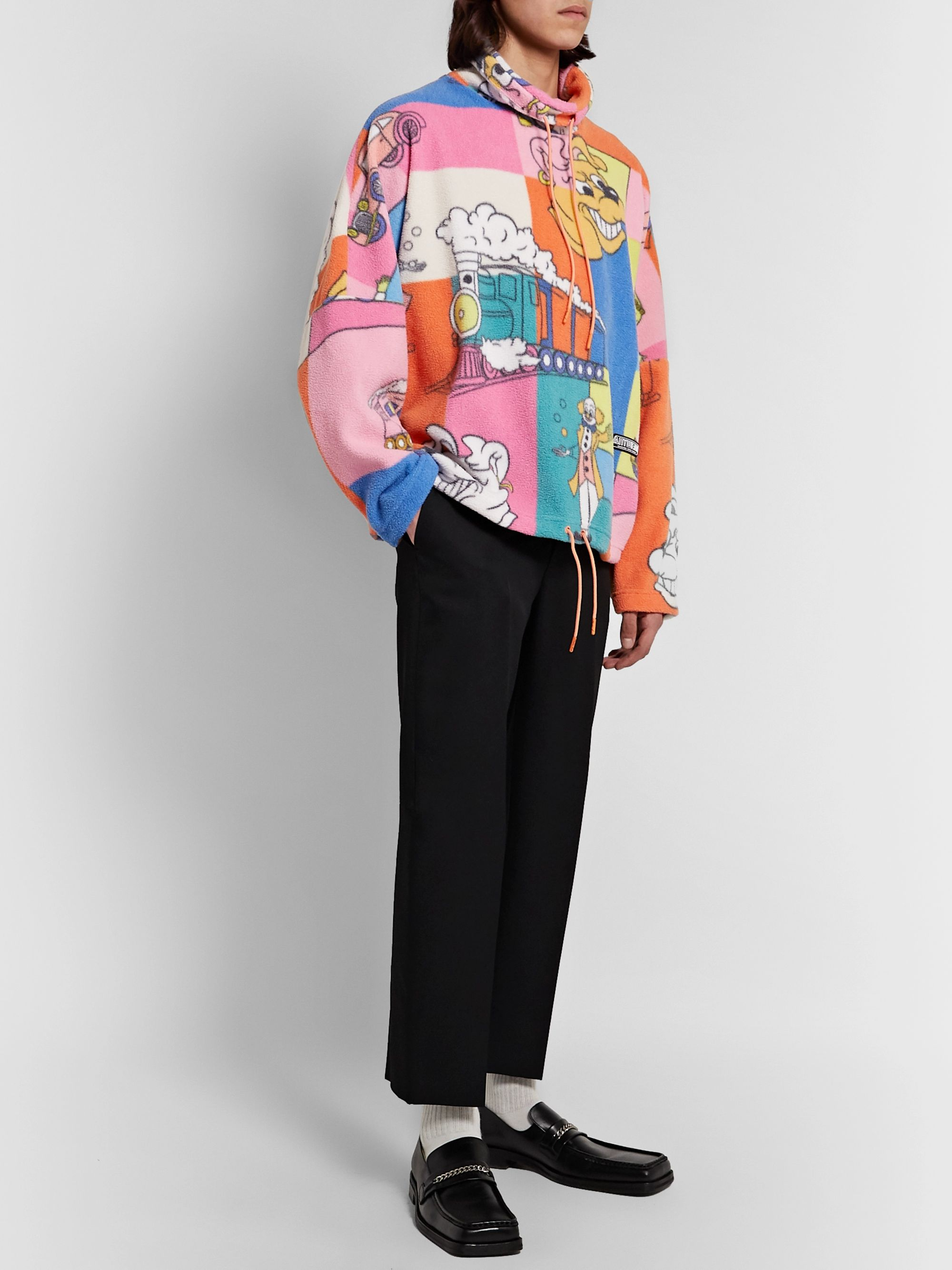Martine Rose Bongo Batwing Oversized Floral-Print Fleece Sweashirt
