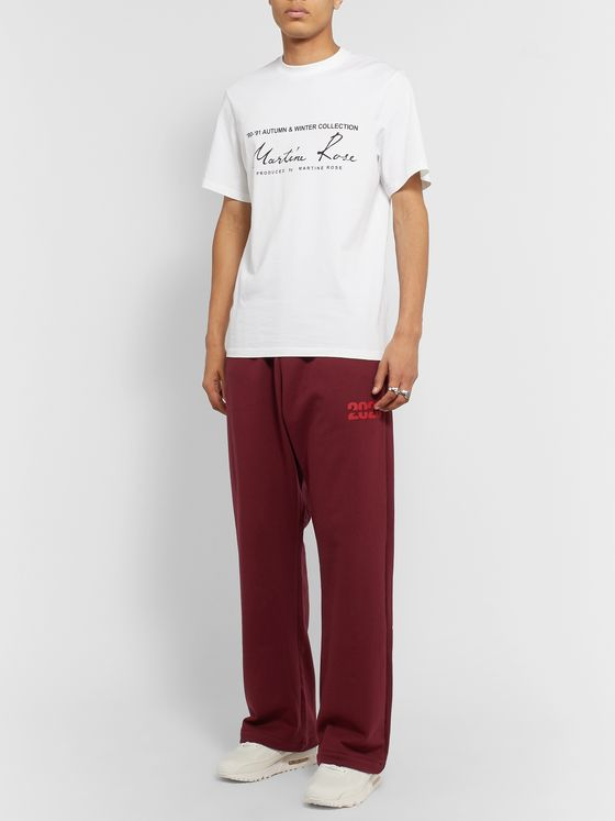 Martine Rose Wide-Leg Logo-Print Loopback Cotton-Jersey Sweatpants