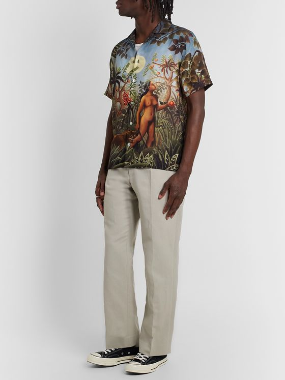 Endless Joy Innate Drive Camp-Collar Printed Silk-Crepe Shirt