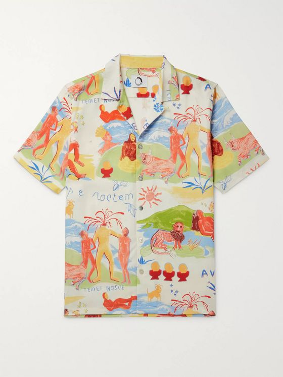 Endless Joy Temet Nosce Aloha Camp-Collar Printed Tencel Shirt