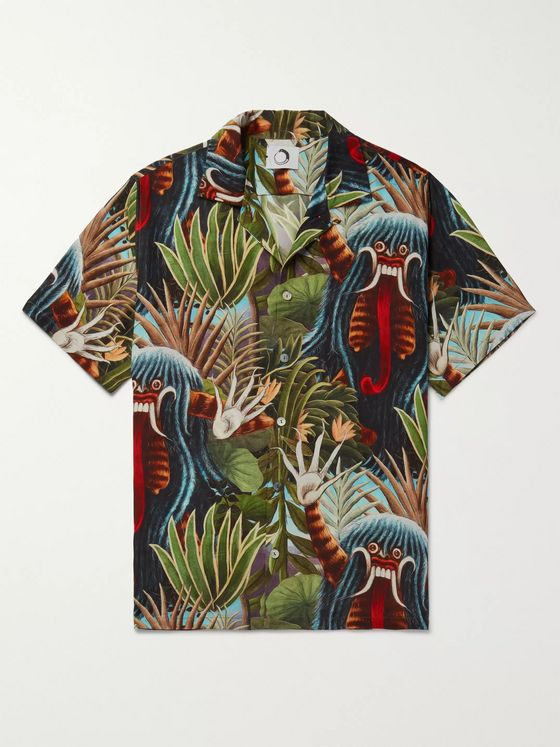 Endless Joy Aloha Camp-Collar Printed Silk-Crepe Shirt