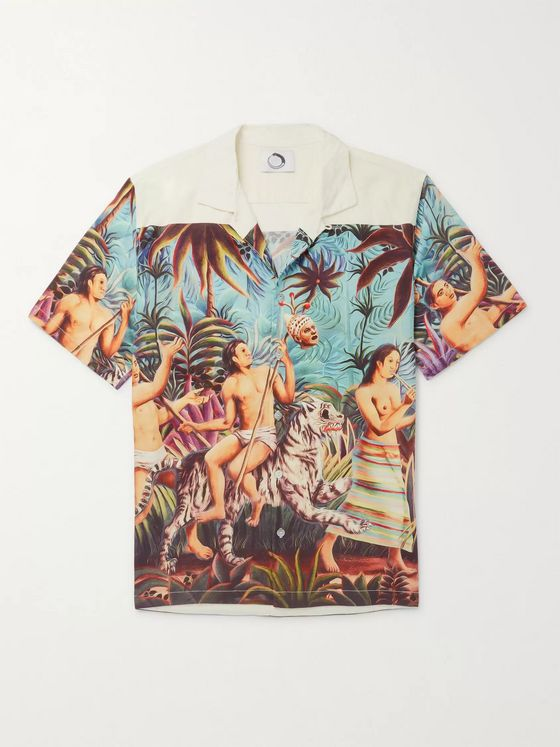 Endless Joy Aloha Camp-Collar Printed Tencel Shirt