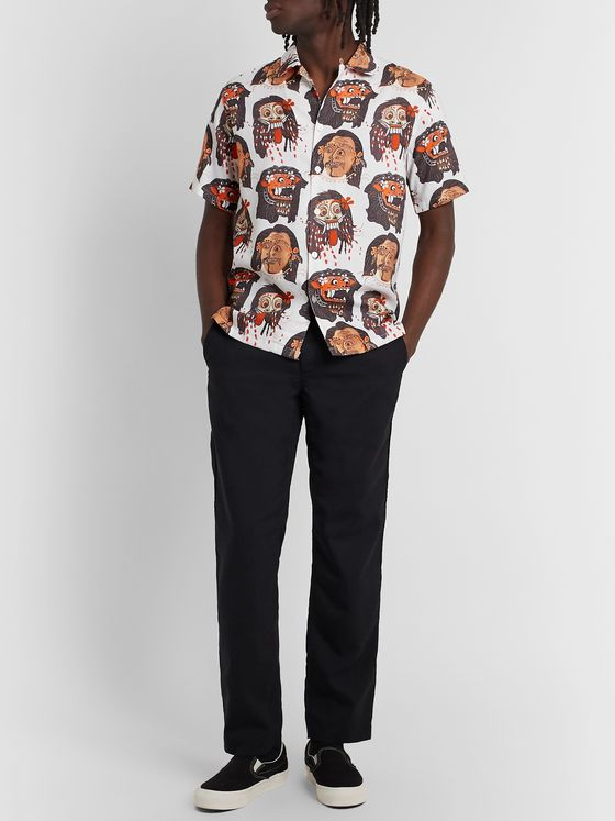 Endless Joy Topeng Camp-Collar Printed Woven Shirt