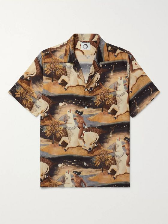 Endless Joy Europa Aloha Camp-Collar Printed Silk-Crepe Shirt