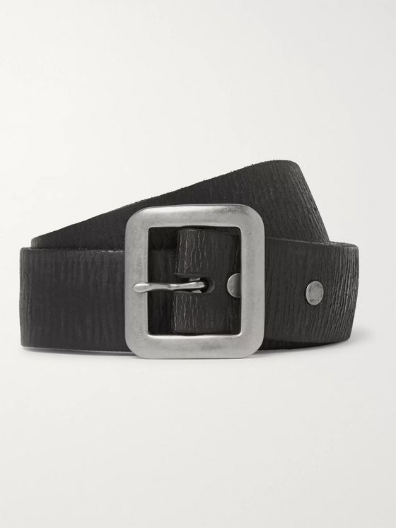 RRL 3.5cm Black Burlington Distressed Leather Belt