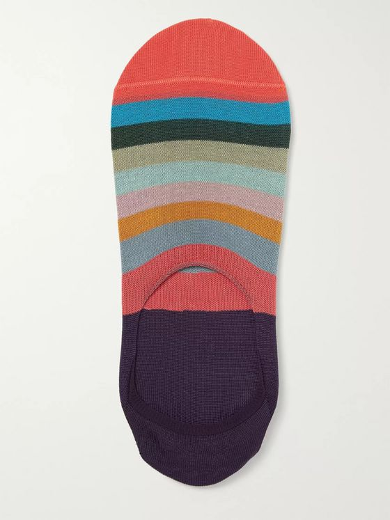 Paul Smith Artist Striped Mercerised Stretch-Cotton Blend No-Show Socks