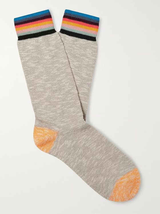Paul Smith Naveen Striped Mélange Cotton-Blend Socks
