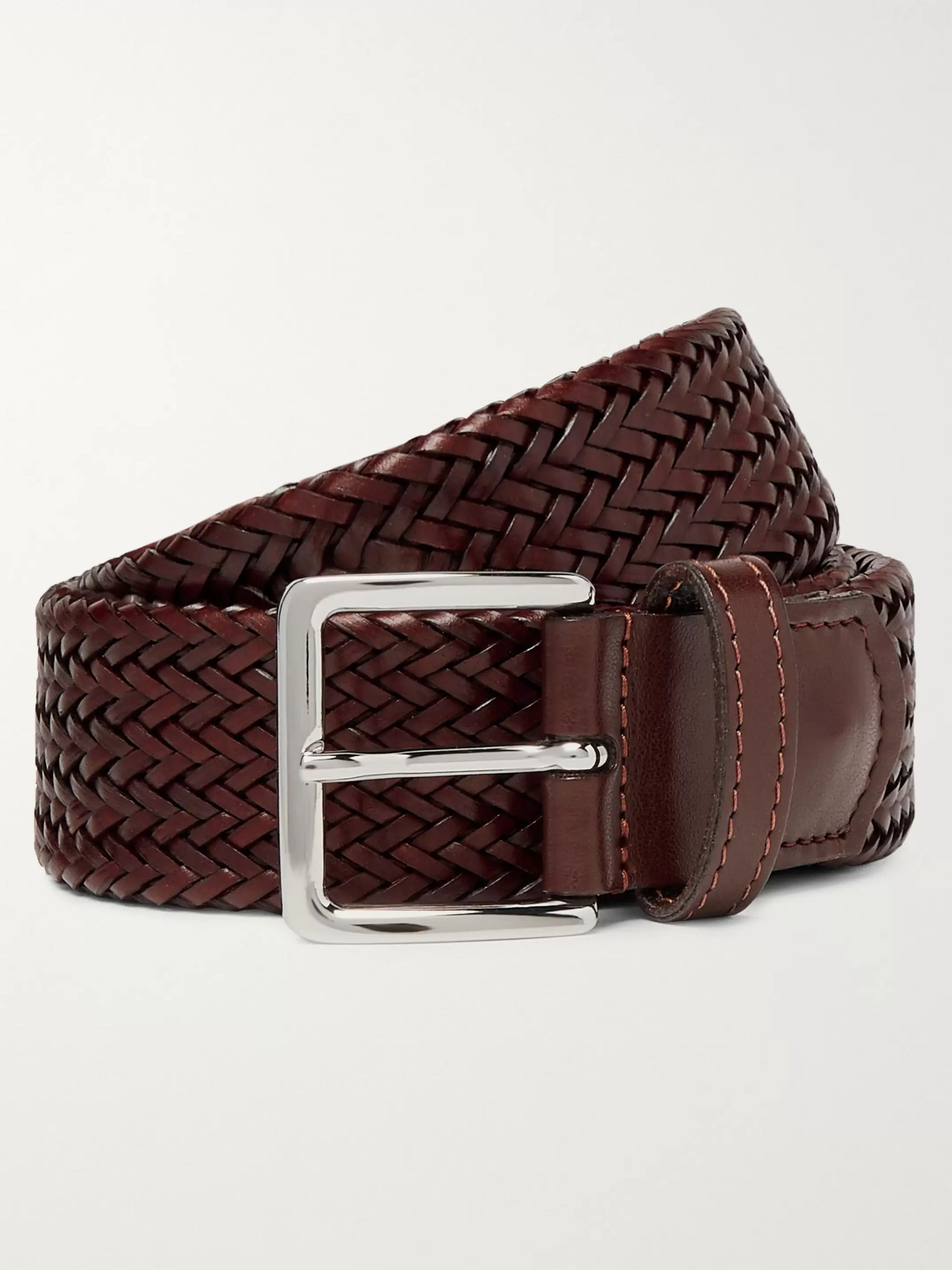 Mr P. 3.5cm Brown Alonso Woven Leather Belt