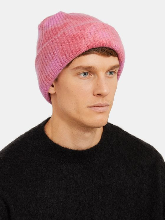 The Elder Statesman Ribbed Tie-Dyed Cashmere Beanie
