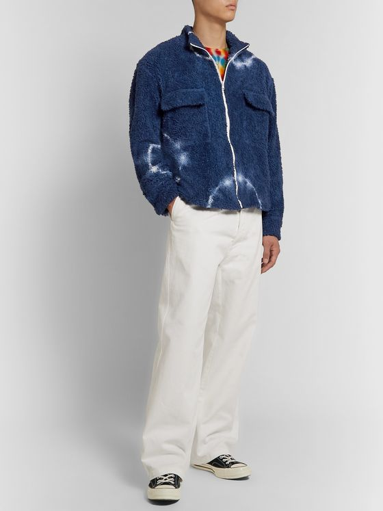 The Elder Statesman Tie-Dyed Cotton-Blend Fleece Jacket