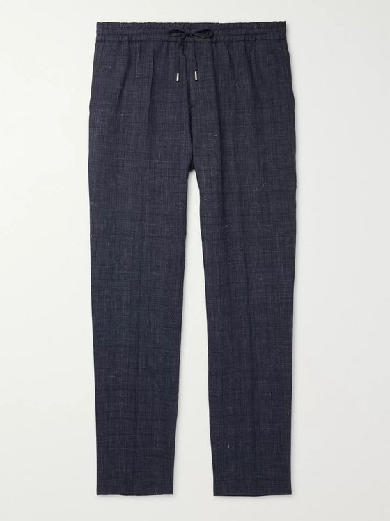 Mr P. Prince of Wales Checked Linen and Virgin Wool-Blend Drawstring Trousers