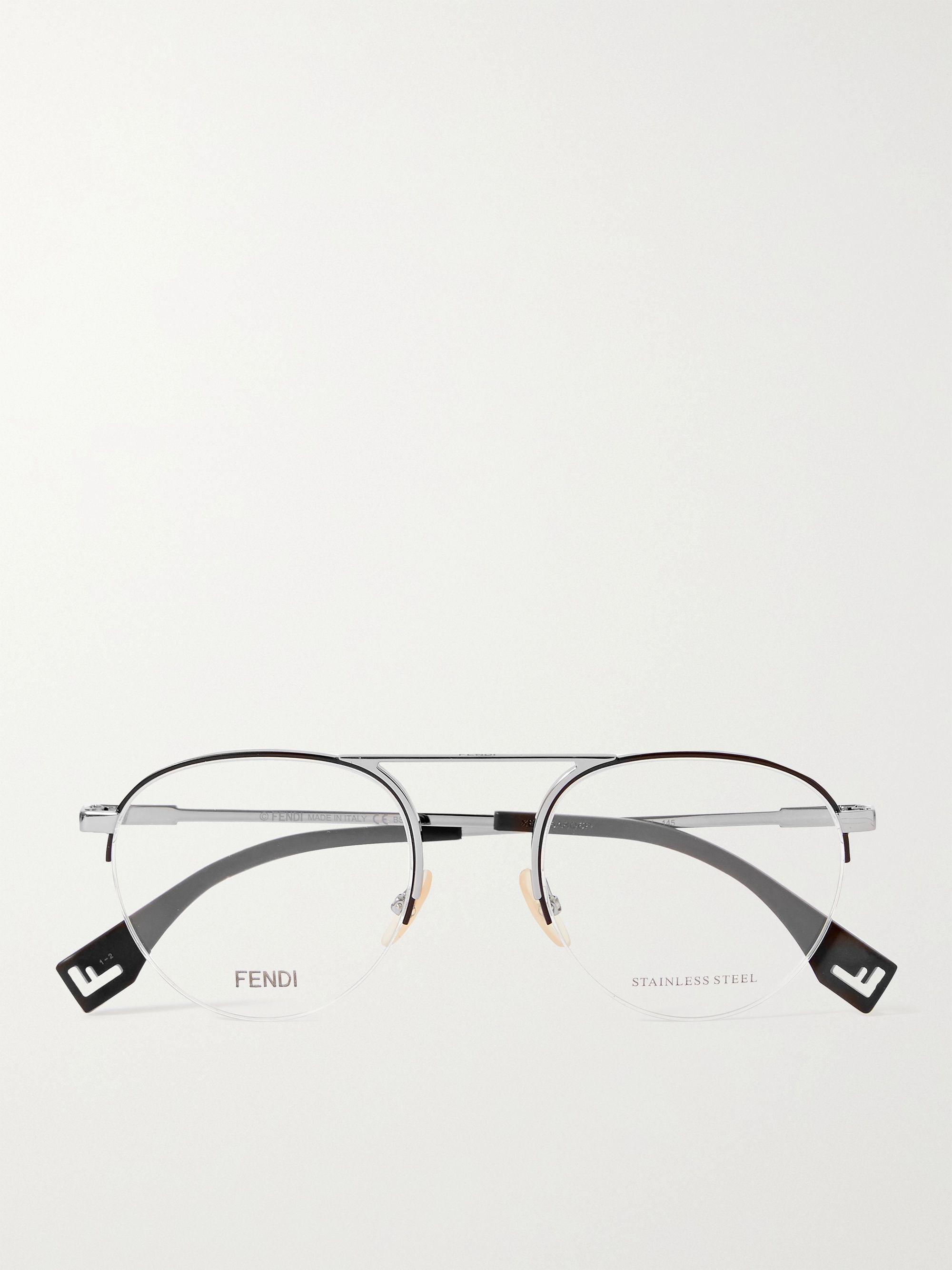 FENDI Round-Frame Silver-Tone Optical Glasses
