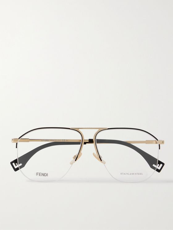 FENDI Aviator-Style Gold-Tone Optical Glasses