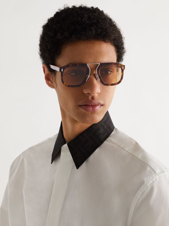 FENDI Square-Frame Logo-Print Acetate and Silver-Tone Sunglasses