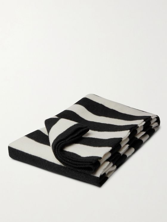TEKLA Striped Brushed Virgin Wool Blanket